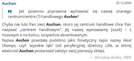 Jak poprawnie wymawia się nazwę Auchan?
