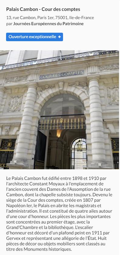 Cour des comptes - Europejskie Dni Dziedzictwa wParyżu w2016.