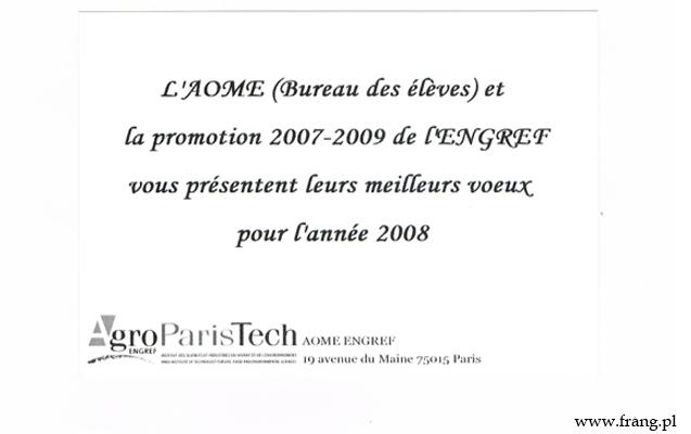 Życzenia noworoczne wjęzyku francuskim - ENGREF 2008