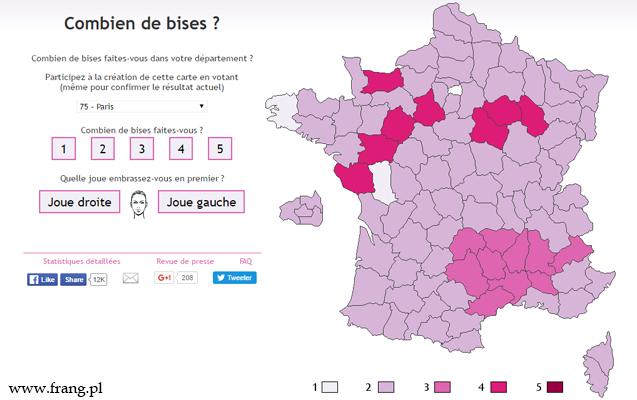 La carte de la bise, czyli francuska mapa całowania.