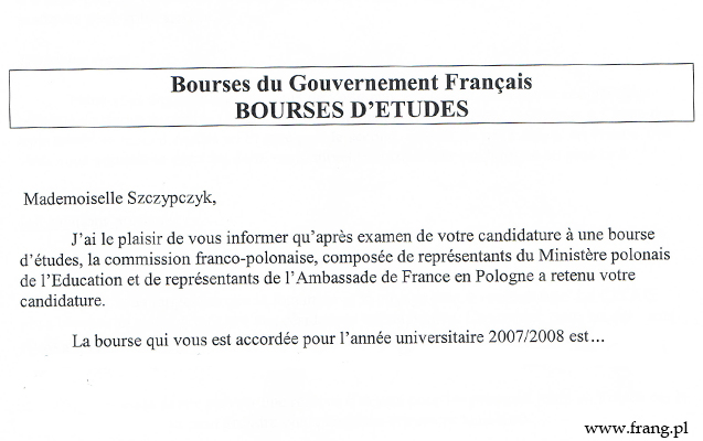 Stypendium studenckie rządu francuskiego.
