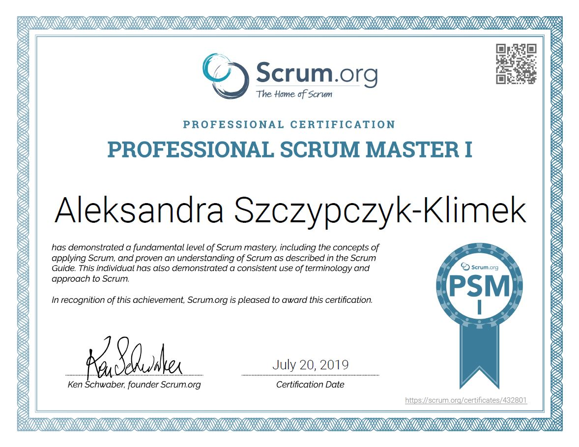 certyfikat Professional Scrum Master IAleksandra Szczypczyk-Klimek